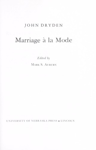 Marriage à la mode by John Dryden