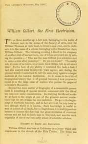 Cover of: William Gilbert, the first electrician
