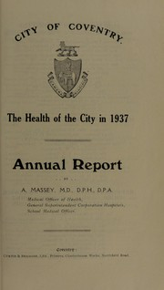 Cover of: [Report 1937] | Coventry (England). County and City Council