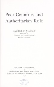 Cover of: Poor countries and authoritarian rule