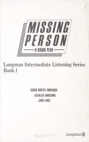 Cover of: Missing person : a radio play ; listening strategies for beginners |