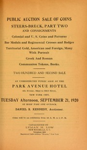 Cover of: Public auction sale of coins, Steers-Breck, part two ...