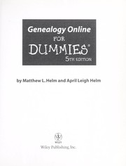Cover of: Genealogy online for dummies | Matthew Helm