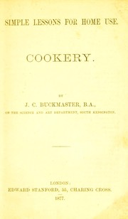 Cover of: Cookery | J. C. Buckmaster