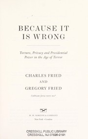 Cover of: Because it is wrong