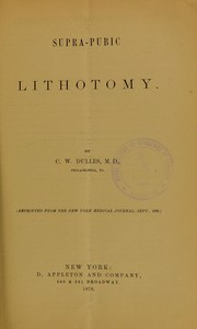 Cover of: Supra-pubic lithotomy