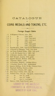 Cover of: Catalogue of the collection of American and Foreign gold, silver and copper coins and medals, the collection of Capt. Edward P. Thorn, Plainfield, N. J. | Mason & Co