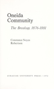Cover of: Oneida Community | Constance Noyes Robertson