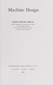 Cover of: Machine design. | Joseph Edward Shigley