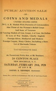 Cover of: Public auction sale of coins and medals ...