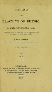 Cover of: First lines of the practice of physic
