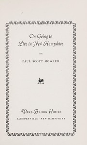 Cover of: On going to live in New Hampshire