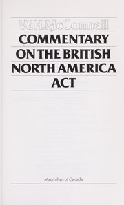 Cover of: Commentary on the British North America Act