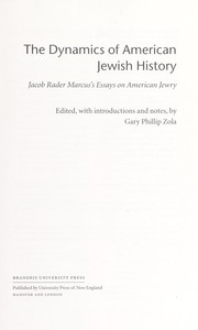 Cover of: The dynamics of American Jewish history