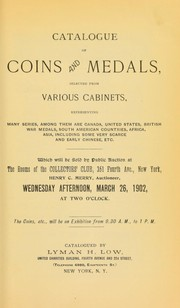 Cover of: Catalogue of coins and medals selected from various cabinets ...