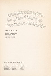 Cover of: An introduction to quantitative business analysis. -- | Ira Horowitz