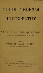 Cover of: Odium medicum and homoeopathy