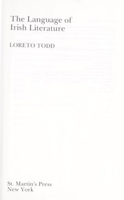 Cover of: The language of Irish literature | Loreto Todd