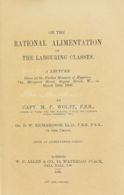 Cover of: On the rational alimentation of the labouring classes