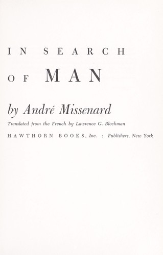 In search of man by André Missenard