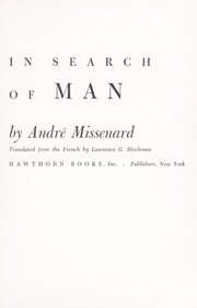 Cover of: In search of man | André Missenard