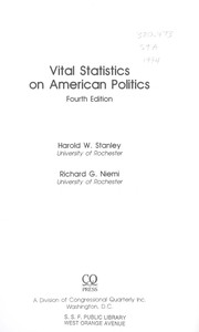 Cover of: Vital Statistics on American Politics | Harold W. Stanley