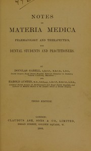 Cover of: Notes on materia medica | Douglas Gabell