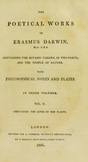Cover of: The poetical works of Erasmus Darwin |