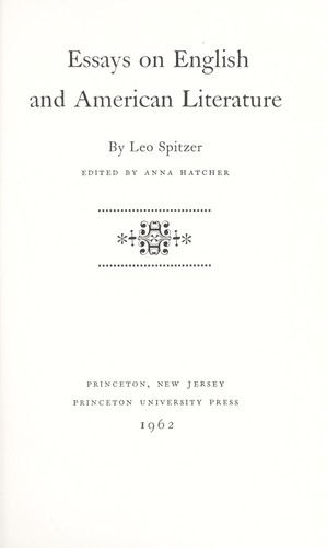 Essays on English and American literature. by Spitzer, Leo