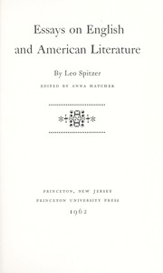 Cover of: Essays on English and American literature. | Spitzer, Leo