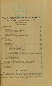 Cover of: The movements of theretinal pigment