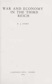 Cover of: War and economy in the Third Reich