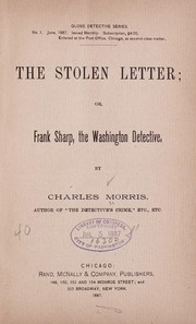 Cover of: The stolen letter: or, Frank Sharp, the Washington detective.