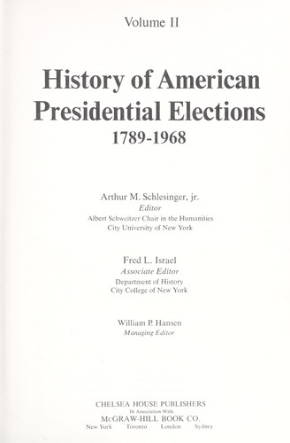 History of American presidential elections, 1789-1968.