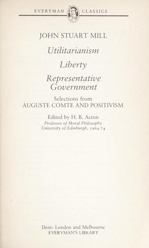 Utilitarianism, liberty, representative government