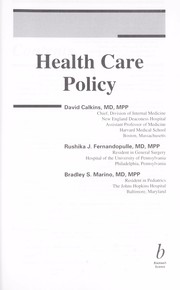 Cover of: Health care policy |