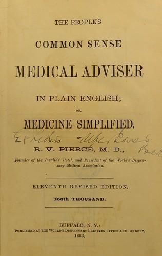 The people's common sense medical adviser in plain English