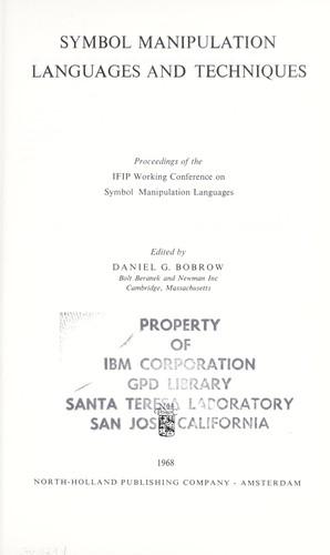 Symbol manipulation languages and techniques  (1968 edition