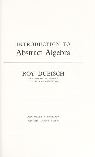 Introduction to abstract algebra  (1965 edition) | Open Library