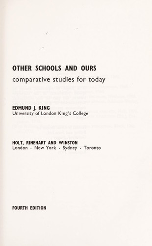 Other schools and ours by Edmund James King