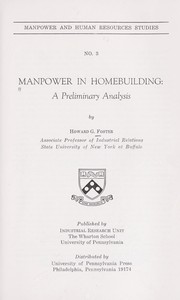 Cover of: Manpower in homebuilding