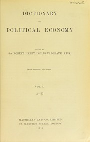 Cover of: Dictionary of political economy