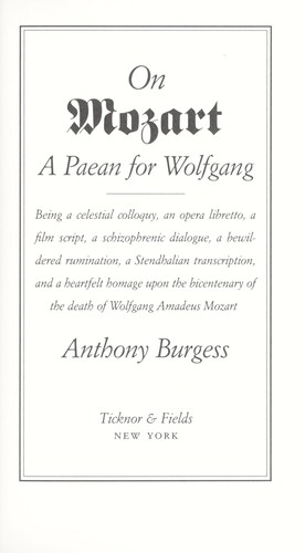 on mozart a paean for wolfgang