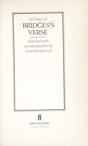 Cover of: A choice of Bridges's verse