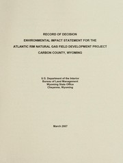 Cover of: Record of decision | United States. Bureau of Land Management. Wyoming State Office