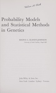 Cover of: Probability models and statistical methods in genetics