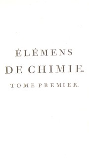 Cover of: El©♭mens de chimie