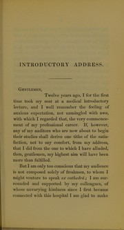 Cover of: An introductory lecture delivered at the Westminster Hospital on the occasion of the opening of the medical session, October 1, 1863
