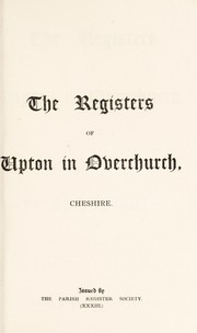 Cover of: The registers of Upton in Overchurch, Cheshire | William Ferguson Irvine