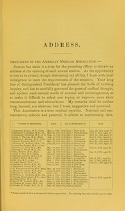 Cover of: Address of Joseph M. Toner, M.D., President of the Association